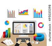 businessman using computer at... | Shutterstock .eps vector #495035398