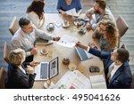 people meeting brainstorming... | Shutterstock . vector #495041626