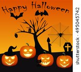happy halloween on the orange... | Shutterstock .eps vector #495045742