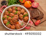 meatballs with tomato sauce on... | Shutterstock . vector #495050332