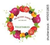 colorful vegetable wreath | Shutterstock .eps vector #495051805