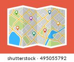 map with navigation. finding... | Shutterstock .eps vector #495055792