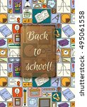 pattern with colorful school... | Shutterstock .eps vector #495061558