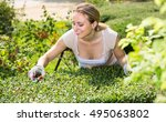 glad young blond woman taking...   Shutterstock . vector #495063802