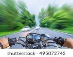 Man Riding Motorcycle  Blur...