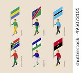 set of 3d isometric people with ... | Shutterstock .eps vector #495073105