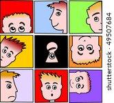 series of faces peering in... | Shutterstock .eps vector #49507684