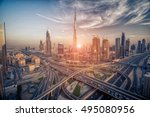 dubai skyline with beautiful... | Shutterstock . vector #495080956