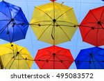 colorful umbrellas background.... | Shutterstock . vector #495083572