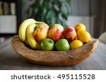 wooden bowl filled with fresh... | Shutterstock . vector #495115528