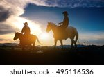 silhouette of man riding a... | Shutterstock . vector #495116536