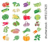 set decorative icons vegetables.... | Shutterstock .eps vector #495117625