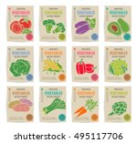 hand drawn vegetables posters... | Shutterstock .eps vector #495117706