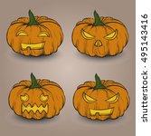 set of halloween hand drawn... | Shutterstock .eps vector #495143416