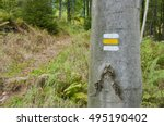 Yellow Tourist Sign On A Bark...