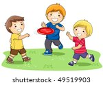 children playing frisbee in the ... | Shutterstock .eps vector #49519903