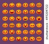 halloween pumpkin emotions icon ... | Shutterstock .eps vector #495209722