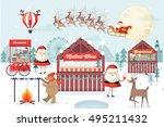 christmas market vector... | Shutterstock .eps vector #495211432
