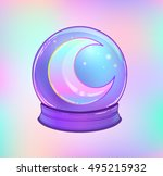 crystal ball with with rainbow... | Shutterstock .eps vector #495215932