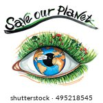 save our planet watercolor eco... | Shutterstock . vector #495218545