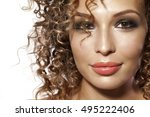beautiful woman with afro... | Shutterstock . vector #495222406
