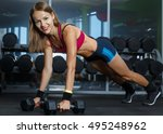 beautiful woman doing push ups... | Shutterstock . vector #495248962