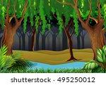 dark forest scene    Shutterstock .eps vector #495250012