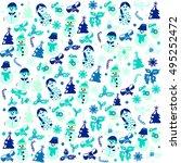 pattern illustration of funny... | Shutterstock .eps vector #495252472