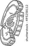 euro coin damaged  vector  | Shutterstock .eps vector #495258112