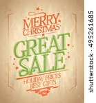 merry christmas great sale... | Shutterstock . vector #495261685