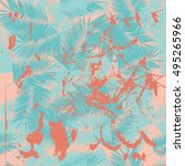 summer denim hawaiian seamless... | Shutterstock .eps vector #495265966