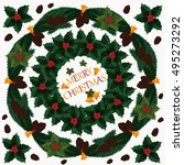 square post card   merry... | Shutterstock .eps vector #495273292