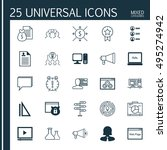set of 25 universal icons on... | Shutterstock .eps vector #495274942