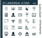 set of 25 universal icons on... | Shutterstock .eps vector #495274975