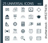 set of 25 universal icons on... | Shutterstock .eps vector #495275656