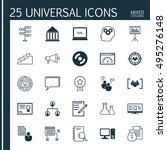 set of 25 universal icons on... | Shutterstock .eps vector #495276148
