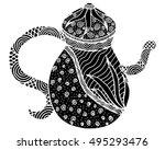 teapot isolated art... | Shutterstock . vector #495293476