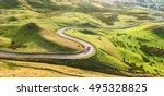 red truck on serpentine road...   Shutterstock . vector #495328825
