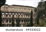 Colloseum in Rome - view from park - stock photo