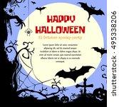 halloween styled frame design... | Shutterstock . vector #495338206
