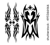 tribal tattoo style vector... | Shutterstock .eps vector #495366466