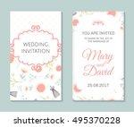 wedding set. romantic vector... | Shutterstock .eps vector #495370228