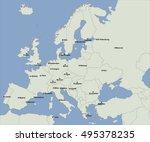 european main city on the map  | Shutterstock .eps vector #495378235