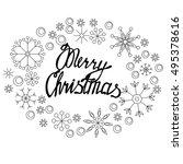 merry christmas lettering in... | Shutterstock .eps vector #495378616