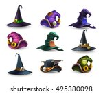 set of colorful halloween hat...