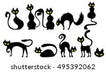Stock vector black cat icon element set for halloween vector illustration 495392062
