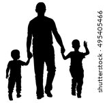 father with kids vector... | Shutterstock .eps vector #495405466