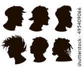 set of faces  hooligan  skater  ... | Shutterstock .eps vector #495409066