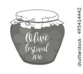 bank with olives. festival... | Shutterstock .eps vector #495414442