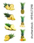 set fresh pineapple fruits with ... | Shutterstock . vector #495417298